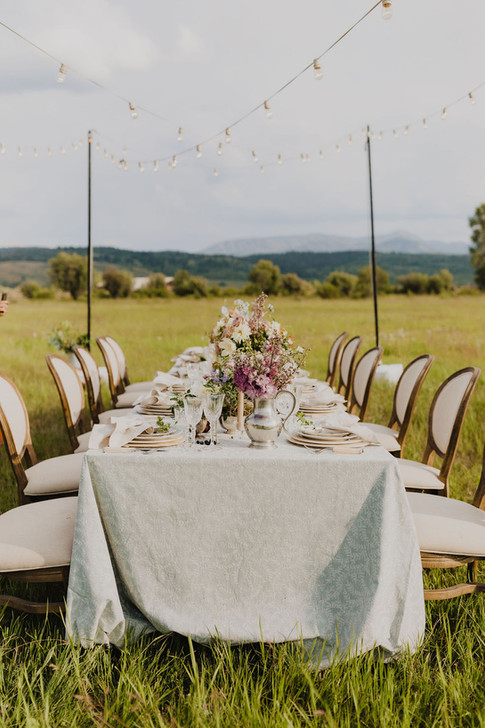 Long Tabel in a Field with a Light Blue Patterned Linen and Dusty Pink Flowers