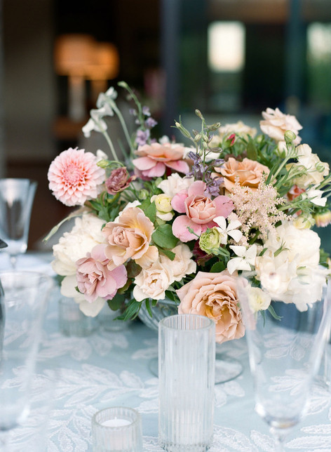 Light Pink Dahlia and Rose Floral Centerpiece