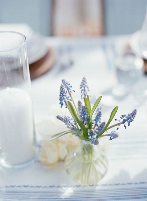 Small Round Glass Vase with Blue Muscari