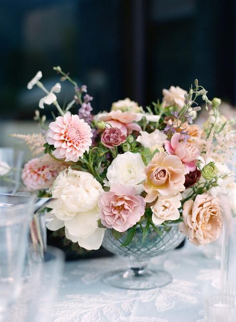 Light Pink Dahlia and Rose Floral Centerpiece