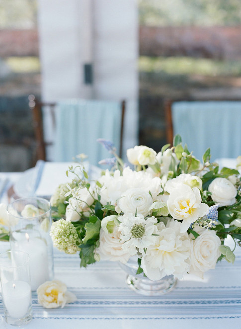 White Roses, Scabiosa, Peonies in a Silver Bowl
