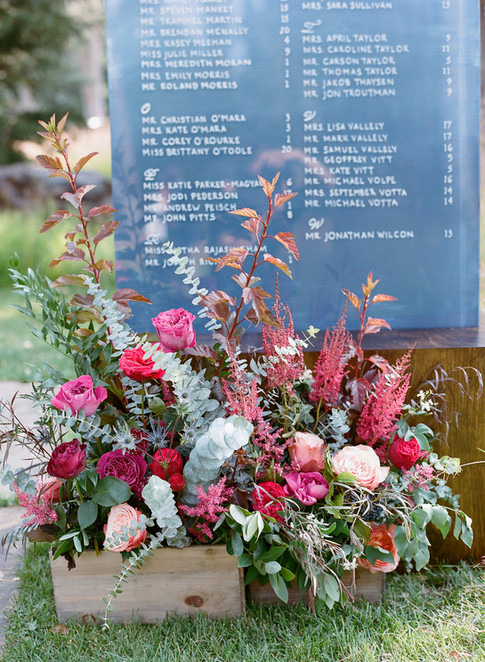 Wild Burgundy and Pink Flower Arrangement in front of Grey Wedding Seating Chart