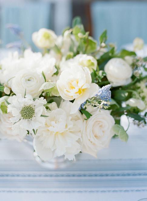 Flower Arrangement with White Scabiosa, Peony, Ranunculus