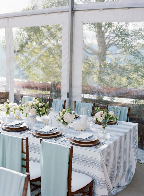 Wedding Reception Table with Light Blue Striped Linens and Brown Chairs with Light Blue Velvet Draping