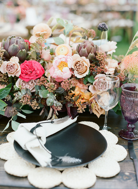 Boho Wedding Placesetting and Flowers