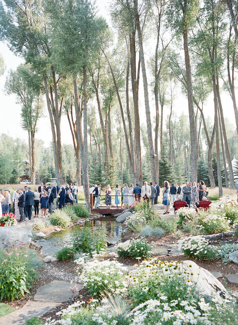 People Gathered at a Wedding Reception in the Woods