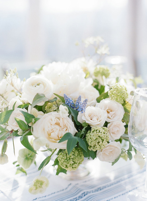 White Peonies, Roses, Ranunculus with Blue Muscari