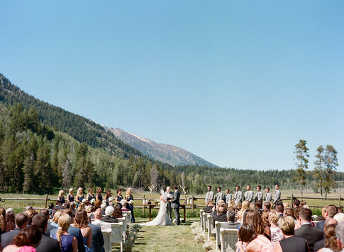 Wedding Ceremony in a Field in front of the Teton Mountains