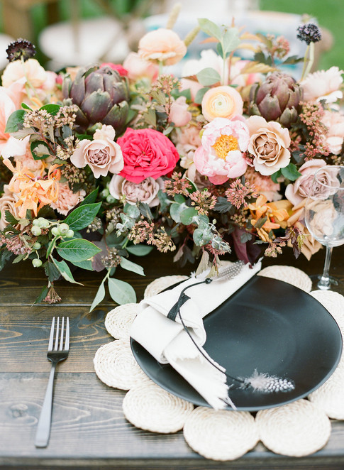 Boho Flower arrangement with Black and Straw Tabletop Decor
