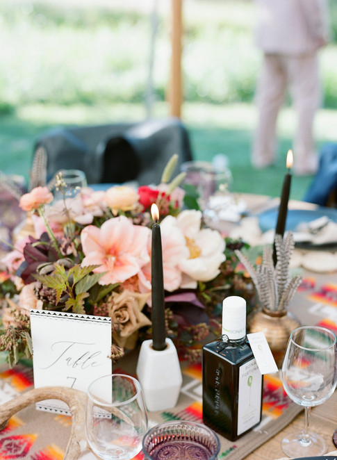 Boho Floral Table Centerpiece with Marble and Black Candles