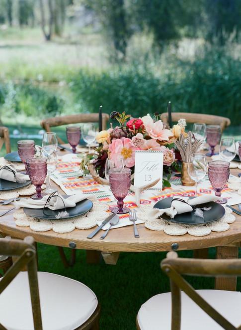 Round Wedding Reception Table with Boho Decor