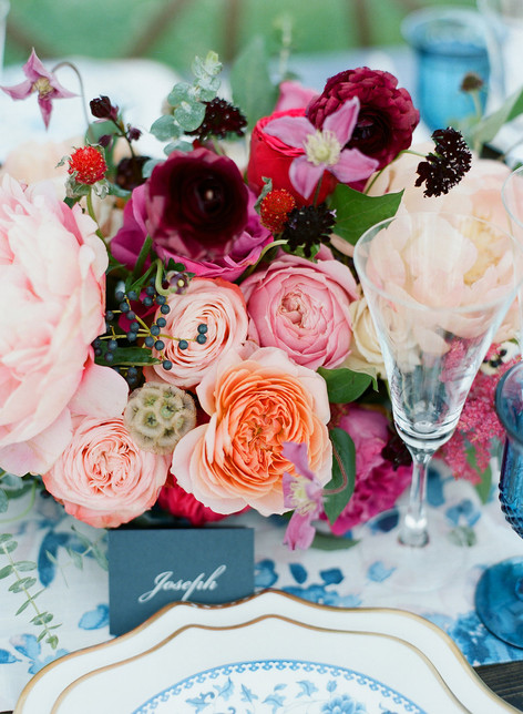 Flower Arrangment with Pink Roses, Peach Roses, Pink Peonies, Purple Scabiosa