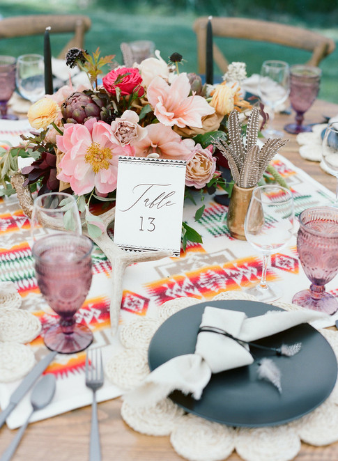 Wedding Reception Table with Number 13 Table Marker