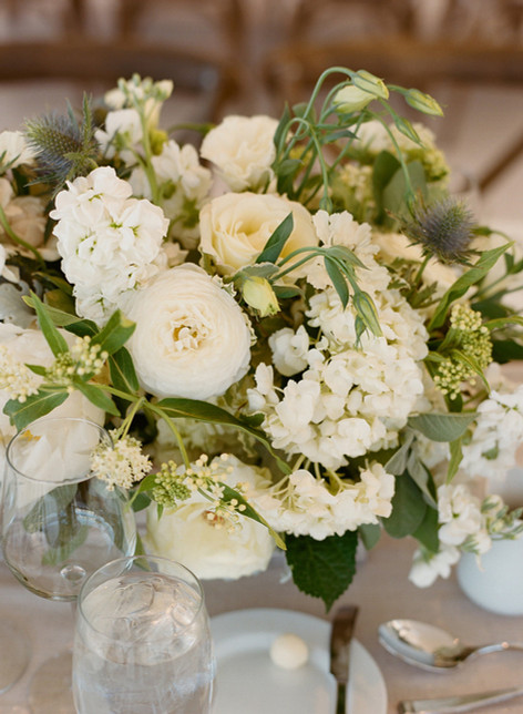 Flower Arrangement with White Ranunculus, White Hydrangea and Greenery
