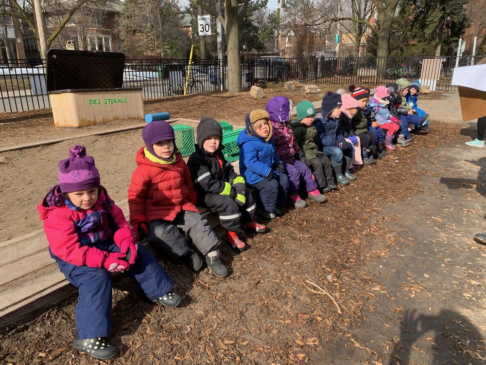 The Nursery class takes advantage of a spring-like day in Winter to have a fire drill practice!