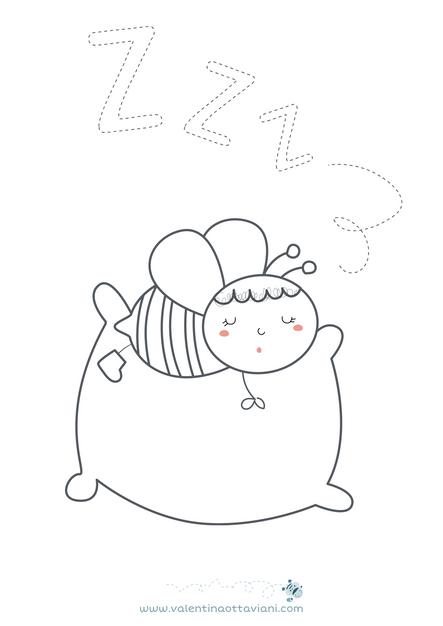 Ape che dorme da colorare