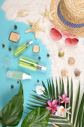 cute korean cosmetics beach scene