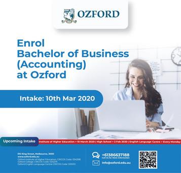 [호주유학] 멜번 오즈포드 바첼러 비지니스 회계 과정 OPEN▶▶ 장학금 혜택! OZFORD Bachleor of Business