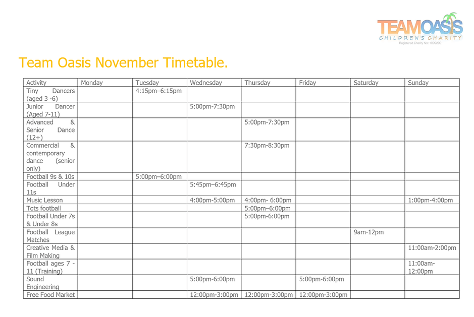 Team O Timetable, Team Oasis, Childrens Charity, Children, Youth, Youth work, Liverpool, Liverpool youth.