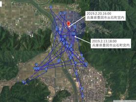 GPS情報 J0097♂ 2019.2.13.18:00~2019.2.20.16:00