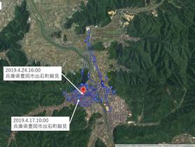 GPS情報 J0097♂ 2019.4.17.10:00~2019.4.24.16:00