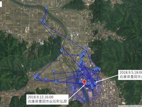 GPS情報 J0097♂ 2018.9.5.18:00~2018.9.12.16:00