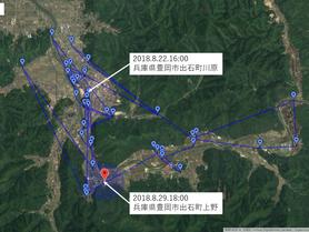 GPS情報 J0097♂ 2018.8.22.18:00~2018.8.29.16:00