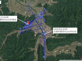 GPS情報 J0097♂ 2018.8.8.18:00~2018.8.15.16:00