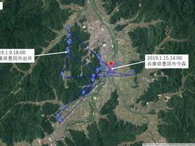 GPS情報 J0097♂・J0015♀ 2019.1.9.18:00~2019.1.15.14:00・1.16.16:00
