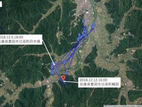 GPS情報 J0097♂・J0015♀ 2018.12.5.18:00~2018.12.12.16:00