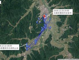 GPS情報 J0097♂・J0015♀ 2018.12.12.18:00~2018.12.19.16:00