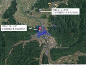 GPS情報 J0097♂ 2019.5.15.18:00~2019.5.22.16:00