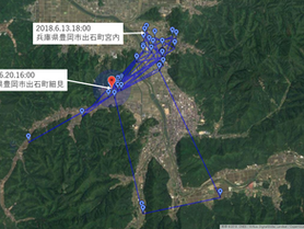 GPS情報 J0097♂ 2018.6.13.18:00~2018.6.20.16:00