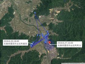 GPS情報 J0097♂ 2018.6.20.18:00~2018.6.27.16:00