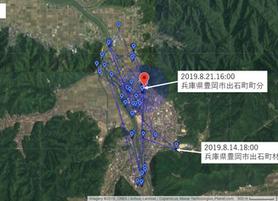 GPS情報 J0097♂ 2019.8.14.18:00~2019.8.21.16:00