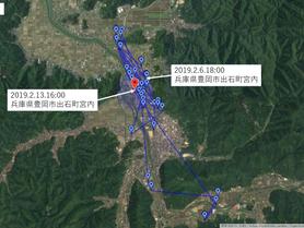 GPS情報 J0097♂ 2019.2.6.18:00~2019.2.13.16:00