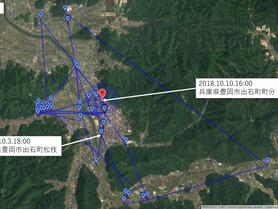 GPS情報 J0097♂ 2018.10.3.18:00~2018.10.10.16:00