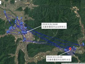 GPS情報 J0097♂ 2018.9.26.18:00~2018.10.3.16:00
