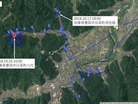 GPS情報 J0097♂・J0015♀ 2018.10.17.18:00~2018.10.24.16:00