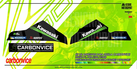 Kit de adhesivos DISEÑO Nº 1 quilla Carbonvice z1000