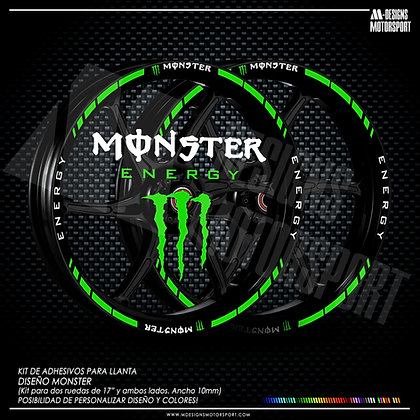 EXTREM MONSTER ENERGY kit de adhesivos perfil e interior llantas