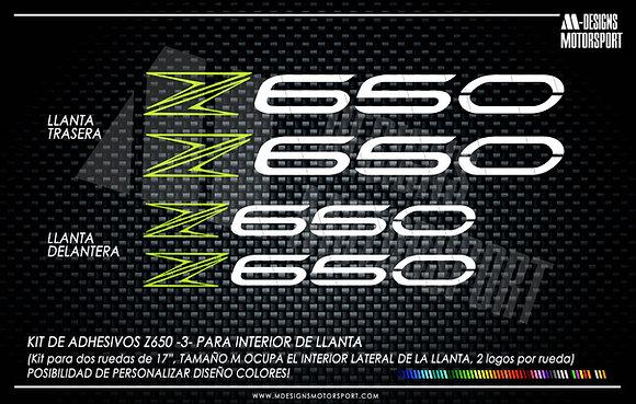 diseño nº 3 Z650, adhesivos interior de llanta