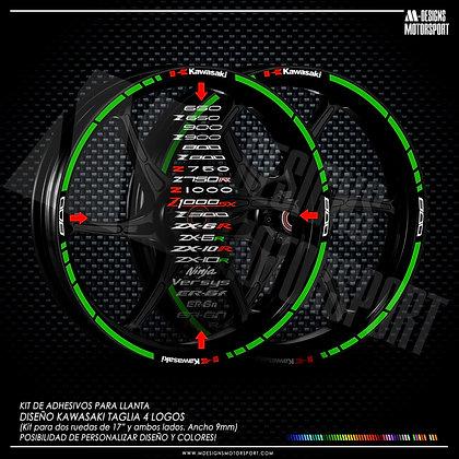TAGLIA DOPPIO 4 LOGOS adhesivos perfil llantas / fluor green / logos z800