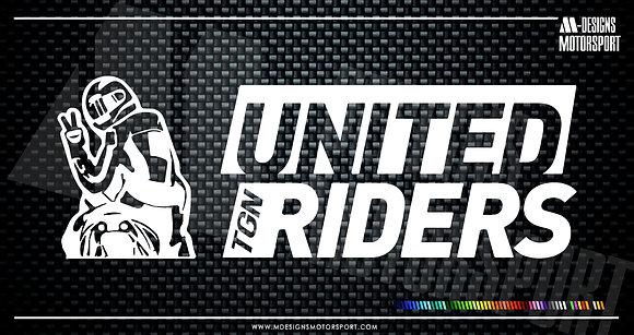 Adhesivo United Riders Tgn / 1 color / 12cm de alto x 4'2cm de alto