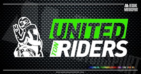 Adhesivo United Riders Tgn / 2 colores / 15cm de alto x 5'2cm de alto