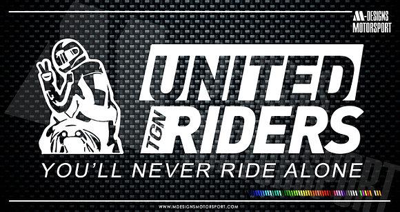 Adhesivo United Riders Tgn YNRA / 1 color / 15cm de alto x 5'2cm de alto