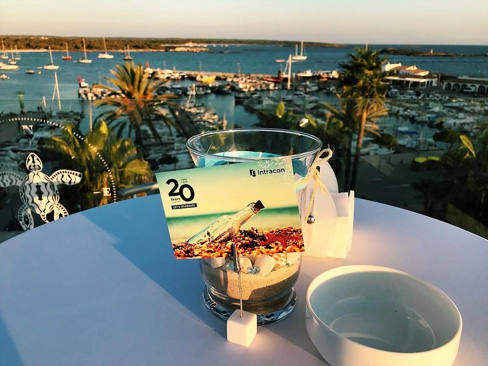 Intracon 20th Anniversary table setting in Sant Jordi, Mallorca