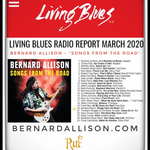 "Bernard Allison's new album ""SONGS FROM THE ROAD"" debuts on the Living Blues Radio chart!"
