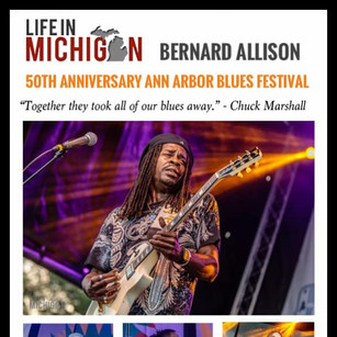 """""""Together they took all of our blues away.""""  Write up from Life in Michigan. """"...he takes the guitar to another level. Lightning hot licks and soaring riffs caused the hair on my arms to stand on end."""" - Chuck Marshall"""