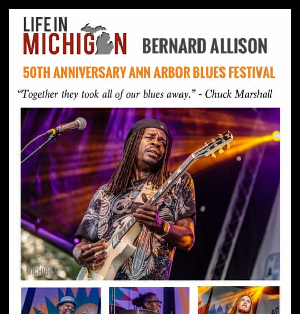 """Together they took all of our blues away.""  Write up from Life in Michigan. ""...he takes the guitar to another level. Lightning hot licks and soaring riffs caused the hair on my arms to stand on end."" - Chuck Marshall"